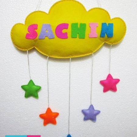 Felt Cloud Name Wall Hanging with Stars