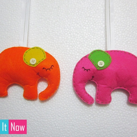 Small Elephant Felt Wall Hanging