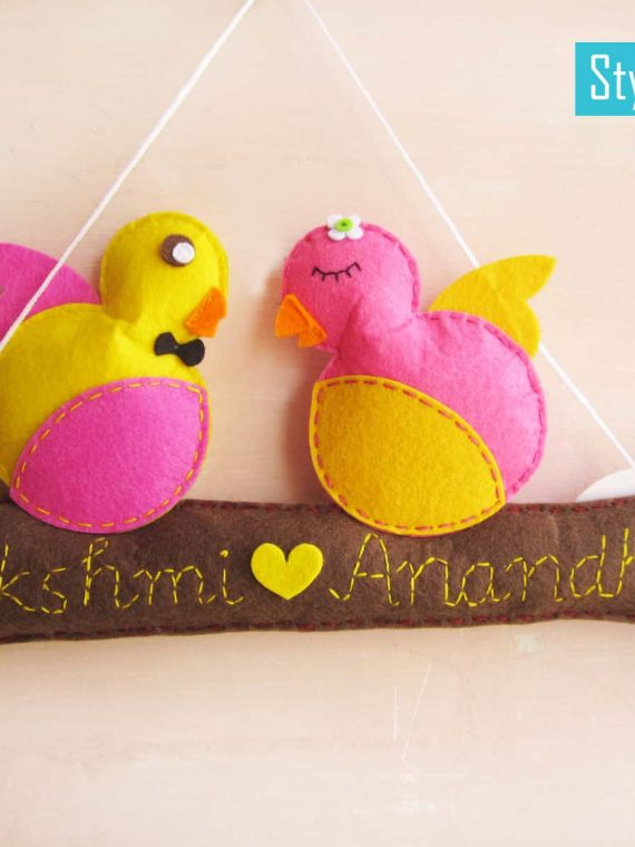Personalized Felt Bird Couple
