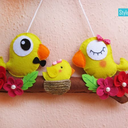 Birdie Family Felt Wall Hanging