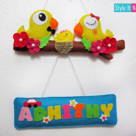 Personalized Birdie family Wall Hanging