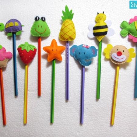 Felt Pencil Toppers ( Set Of 3)