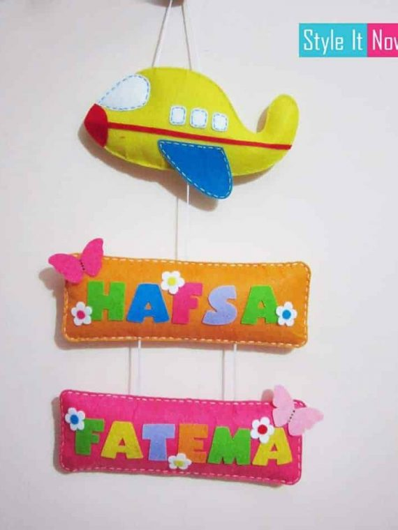Personalized Aeroplane Name Board Hanging Double