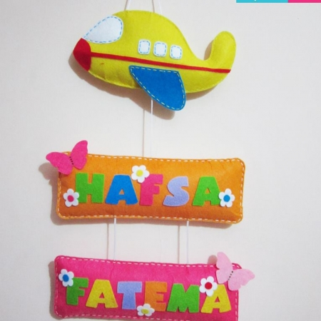 Personalized Aeroplane Name Board Hanging with 2 Names