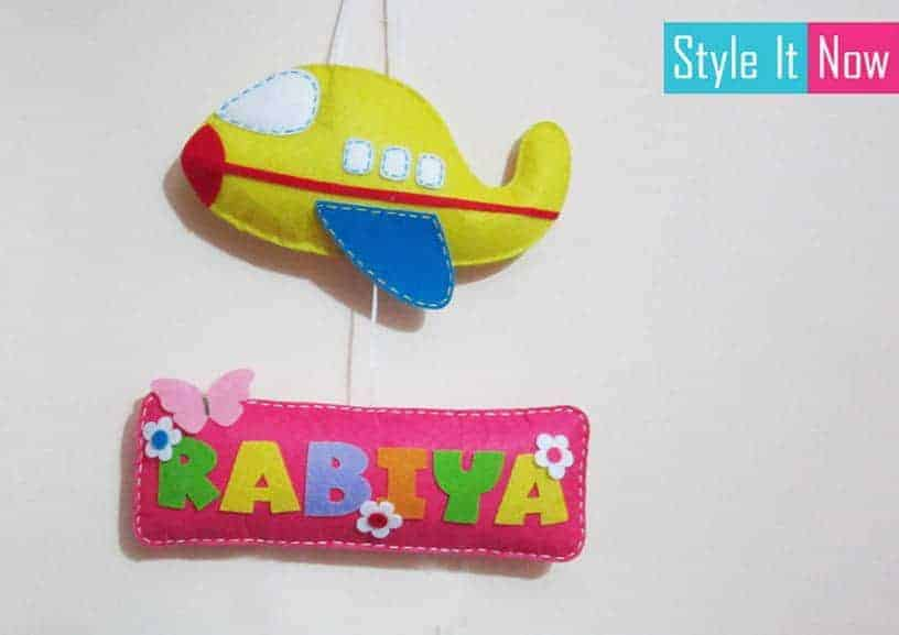 Personalized Aeroplane Name Board Hanging Single