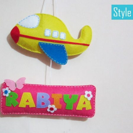 Personalized Aeroplane Name Board Hanging Single Name