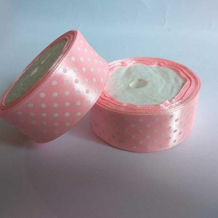 "Polka Dotted 1"" Satin Ribbon Light Pink"