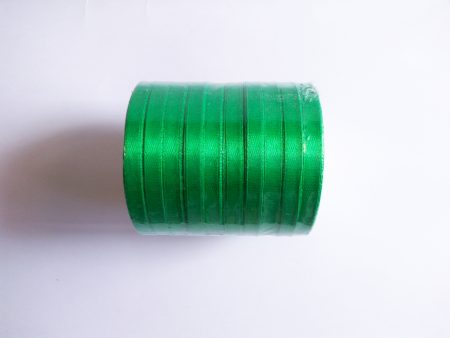 Green 6mm satin ribbon 10 meter